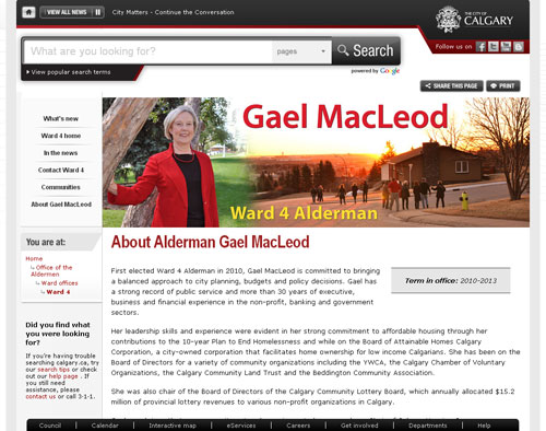 screen capture of Alderman Gael MacLeod's city website